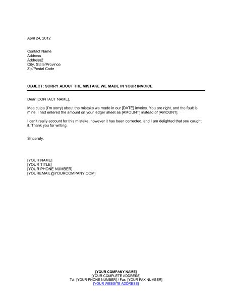 sle invoice letter to client sorry about the mistake in invoice template sle