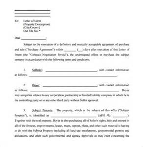 Letter Of Intent Sle Contract 10 Real Estate Letter Of Intent Templates Free Sle