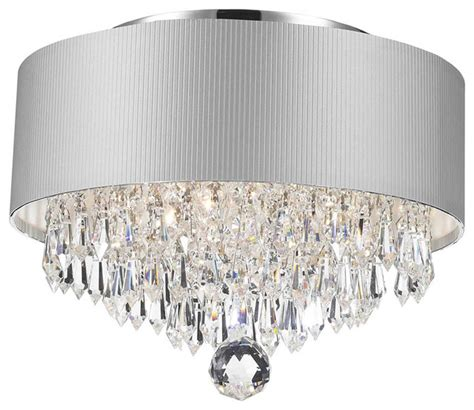 Modern Flush Mount Chandelier 3 Light Crystal Chandelier With White Drum Shade Chrome