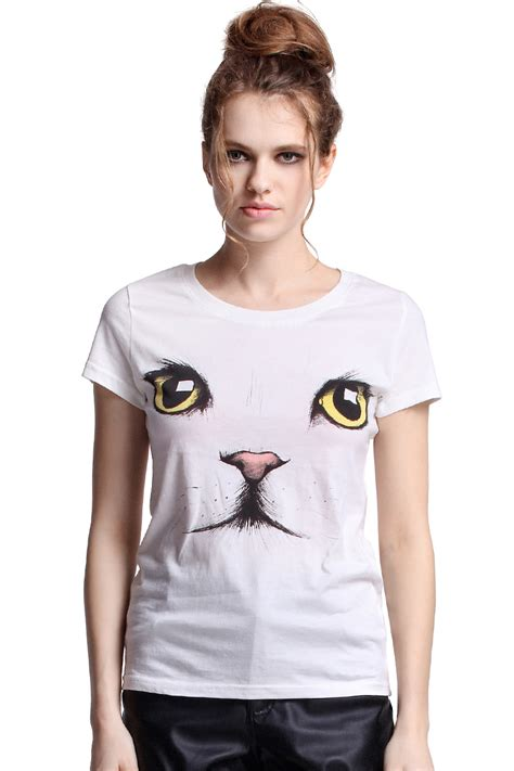 Blouse Cat White Los cat white t shirtfor romwe