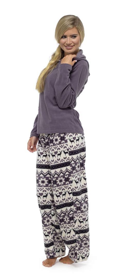 Pyjamas Set Toppants Size Ml fair isle hooded pyjamas fleece top pj set