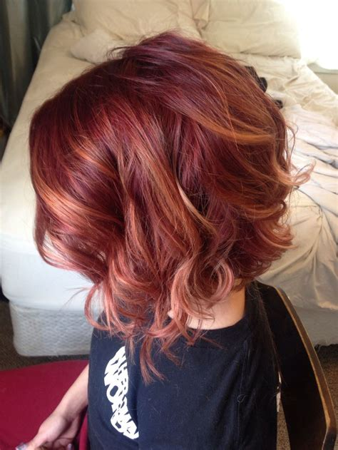 red to blonde ombre bob red balayage ombre joico 6rr inverted bob hair