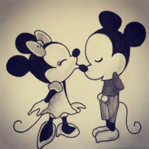 step step chibi minnie mickey mouse kissing
