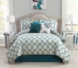 7 piece queen vidara teal gray reversible comforter set