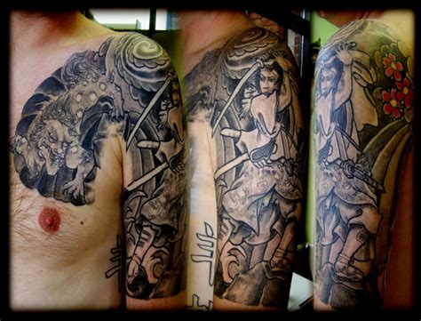 half sleeve tattoo for men samurai half sleeve