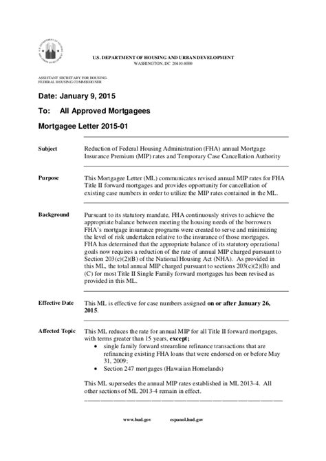 Mortgagee Letter For Streamline Refinance 85 Mortgage Insurance Fha Drop January 2015 Obama