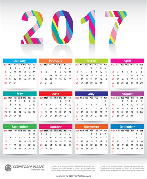 printable calendar 2018 colorful colorful 2017 calendar printable template 123freevectors
