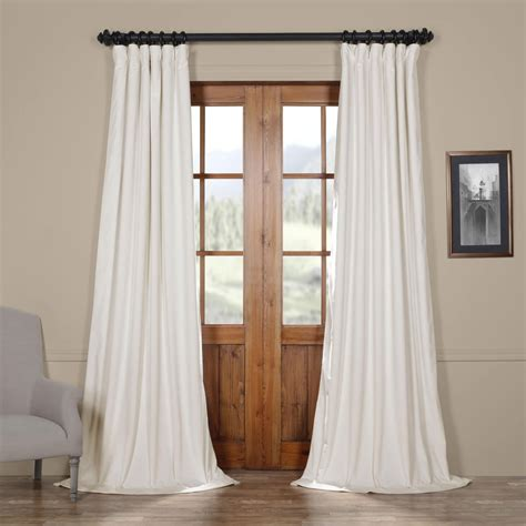 half off drapes off white blackout velvet pole pocket single panel curtain
