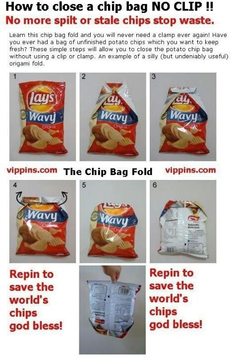 Crisp Packet Origami - crisp packet folding hacks