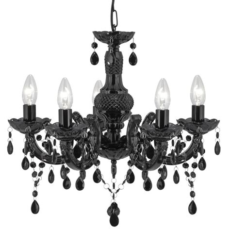 Black 5 Light Chandelier Searchlight 1455 5bk Therese Black 5 Light Chandelier With Acrylic Glass Drops