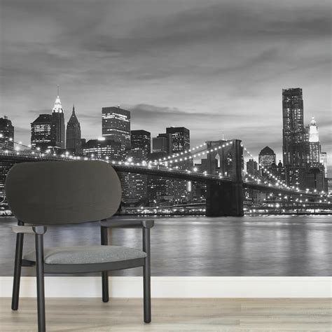 black and white wallpaper murals uk brooklyn black and white wall mural muralswallpaper co uk