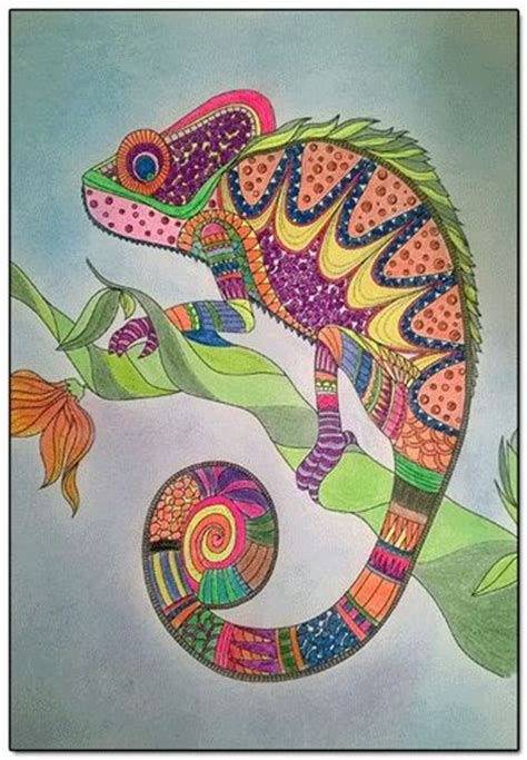 coloring book for adults finished finished coloring page cameleon finished coloring