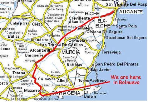 map of alicante area bolnuevo spain
