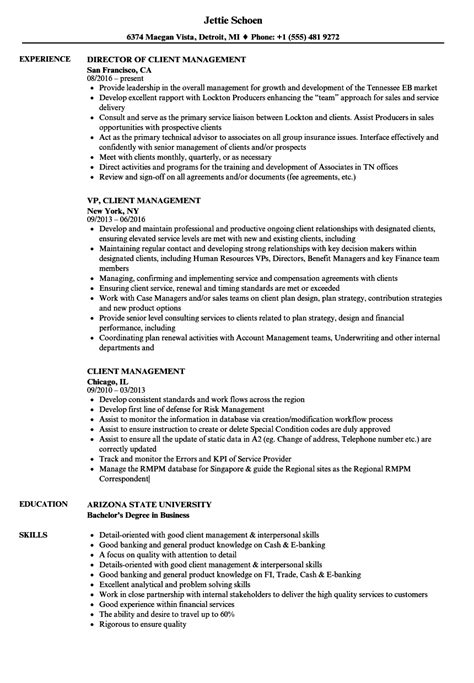client management resume sles velvet