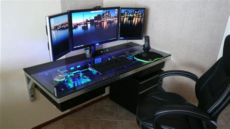 A Workspace With Custom Pc Built Inside An Incredible Desk Desk With Computer Inside