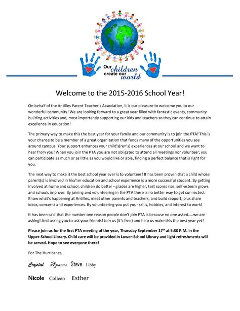 Fundraising Letter To Board Members welcome letter from the pta board