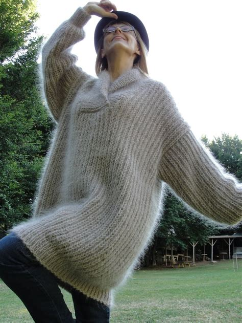 Handmade Knitted Jumpers - knitted mohair sweater shawl collar pullover mens