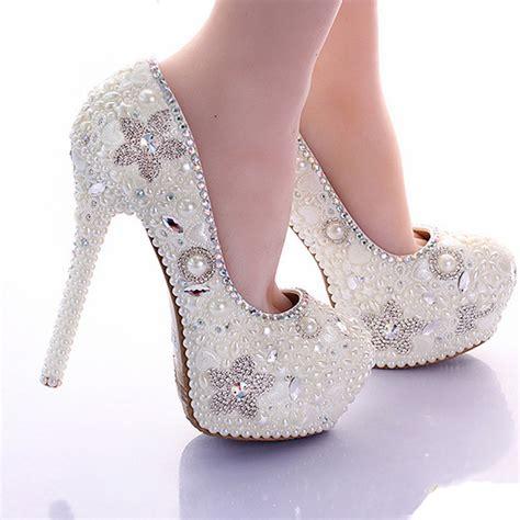 Wedding Shoes 14 gorgeous beautiful bridal shoes ivory pearl 14cm high heel platform wedding shoes
