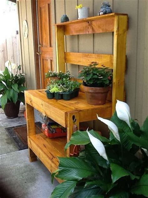 wood pallet potting bench dishfunctional designs salvaged wood pallet potting benches