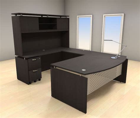 5pc U Shape Modern Contemporary Executive Office Desk Set Office Desk U Shape