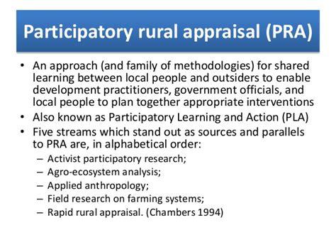 Pra Participatory Rural Appraisal participative rural appraisal tools techniques requirements scope r