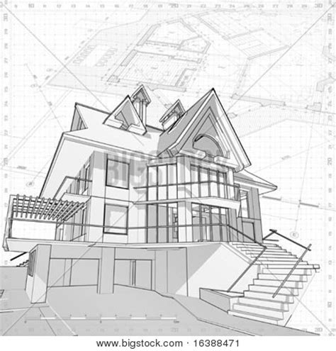 3d house drawing 3d house vector technical draw picture royalty free