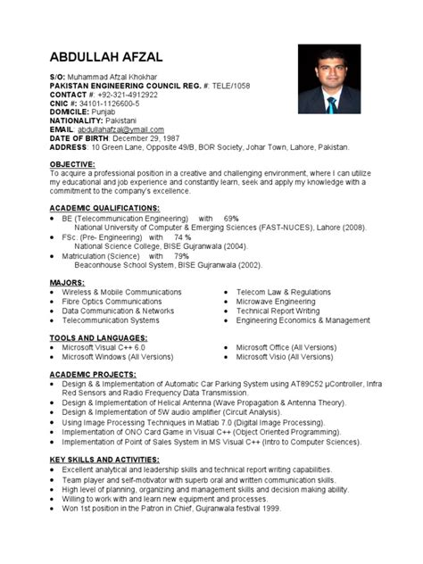 telecom engineer resume format fresh network engineer resume samples
