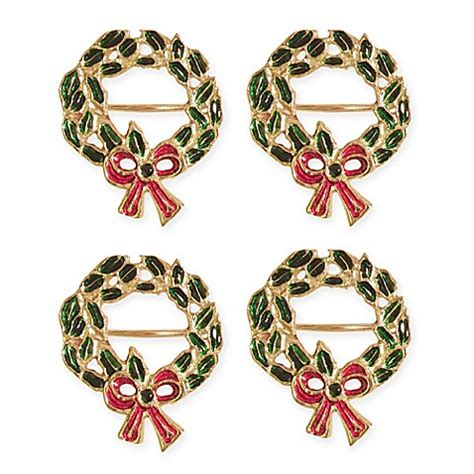 christmas wreath napkin rings in gold set of 4 bed