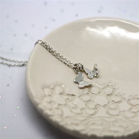 Handmade Silver Necklaces Uk - handmade sterling silver butterfly charm necklace