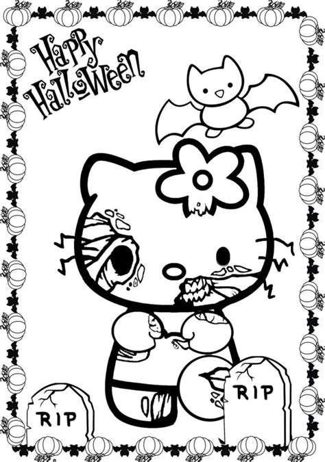halloween scary cat coloring pages scary halloween hello kitty coloring pages 00