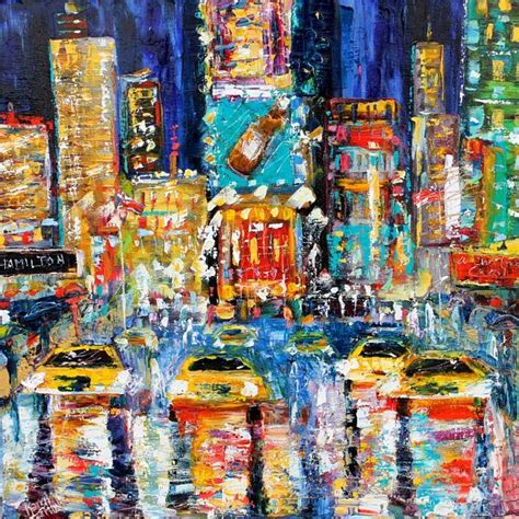 New Originals Disel00118 4time times square new york painting original landscape palette knife impressionism on
