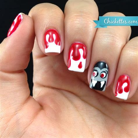 halloween themed nails bloody dracula nails for halloween chickettes soak off