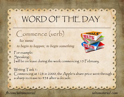of the day commence word of the day for ielts writing task 1 2