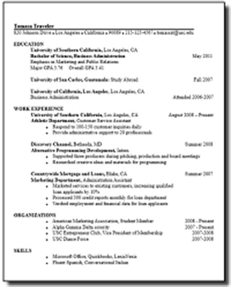 Usc Resume Template by Usc Resume Resume Ideas