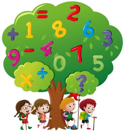 imagenes niños jugando con numeros los ni 241 os y los n 250 meros en el 225 rbol descargar vectores