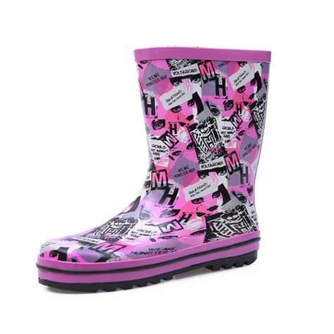 colorful boots new 2015 fashion rubber boots flat heels