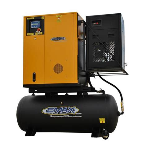 emax premium series 7 5 hp 3 phase 120 gal electric rotary air compressor with