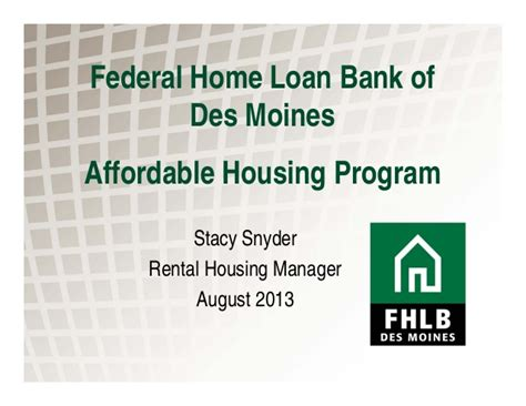 federal home loan bank affordable housing program the affordable housing program stacy snyder