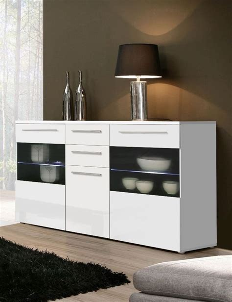 buffet modern furniture high gloss white sideboard chest dresser with lighting modern furniture sideboard