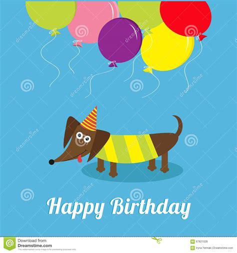 happy birthday flat design dachshund dog with tongue striped shirt cute cartoon