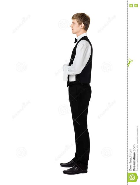 profile of handsome waiter with towel
