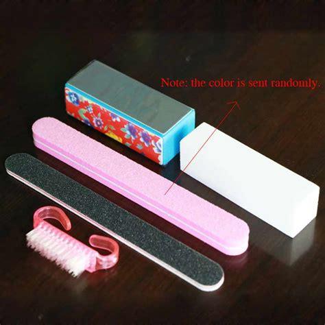 Pisau Set 5 Pcs With Plastic Block 1set 5pc plastic nail cleaning brush buffer file block pedicure manicure buffing sanding