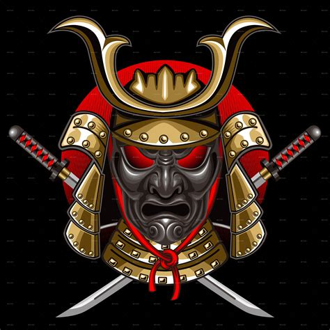 samurai mask with katana by ashmarka graphicriver