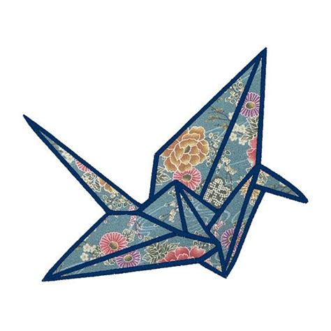Origami Crane Clip - origami crane applique embroidery design pattern for