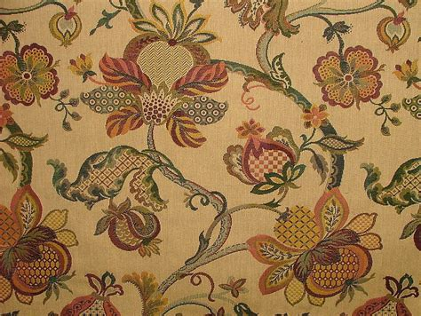 Jacobean Upholstery Fabric by Jacobean Garden Gold Woven Tapestery Jacquard Curtain