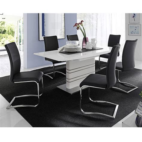 Modus White Gloss Extendable Dining Set And 4 Arco Black Black Gloss Dining Room Furniture