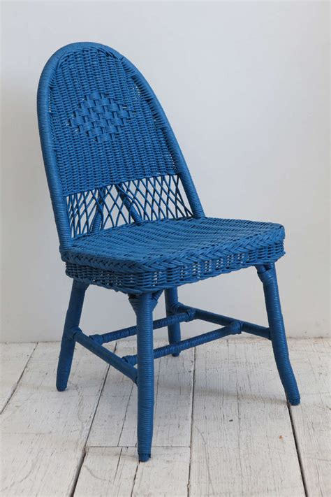 Cobalt Blue Chair by Set Of Four Cobalt Blue Wicker Dining Chairs At 1stdibs