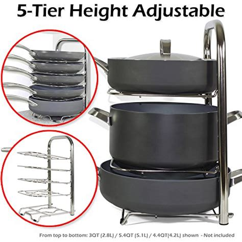 Kitchen Pot Organizer Bth Height Adjustable Pot Pan Organizer Rack 5 Tier 10