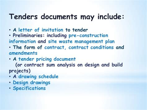 Tender Specification Template by Quantity Surveying Drawing Fnbe 2014