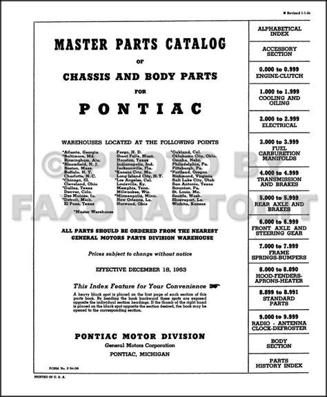 pontiac parts catalog pontiac master parts book 1954 1953 1952 1951 1950 1949